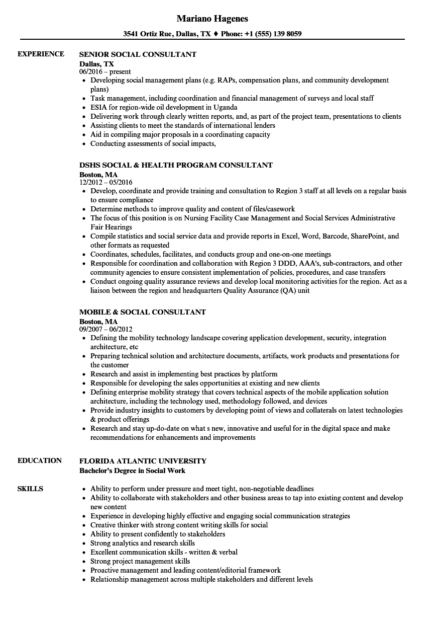 Social Consultant Resume Samples Velvet Jobs