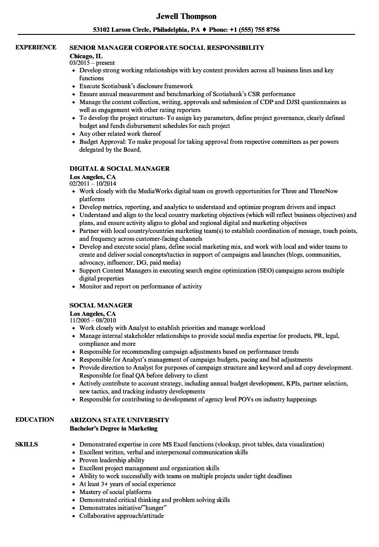 Social Manager Resume Samples | Velvet Jobs