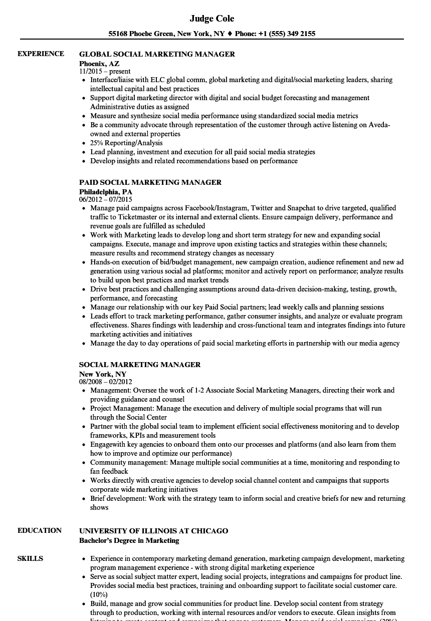 Social Marketing Manager Resume Samples | Velvet Jobs