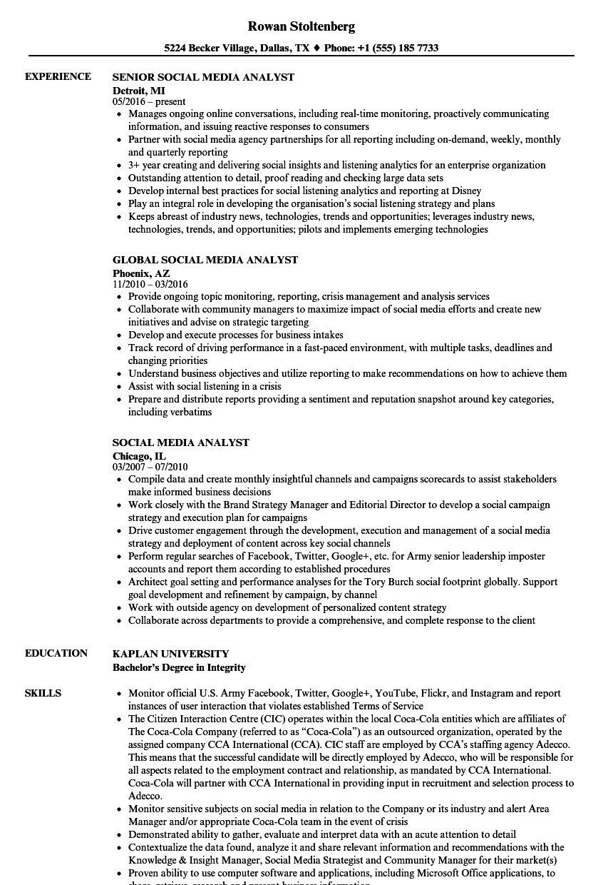 social media analyst resume samples