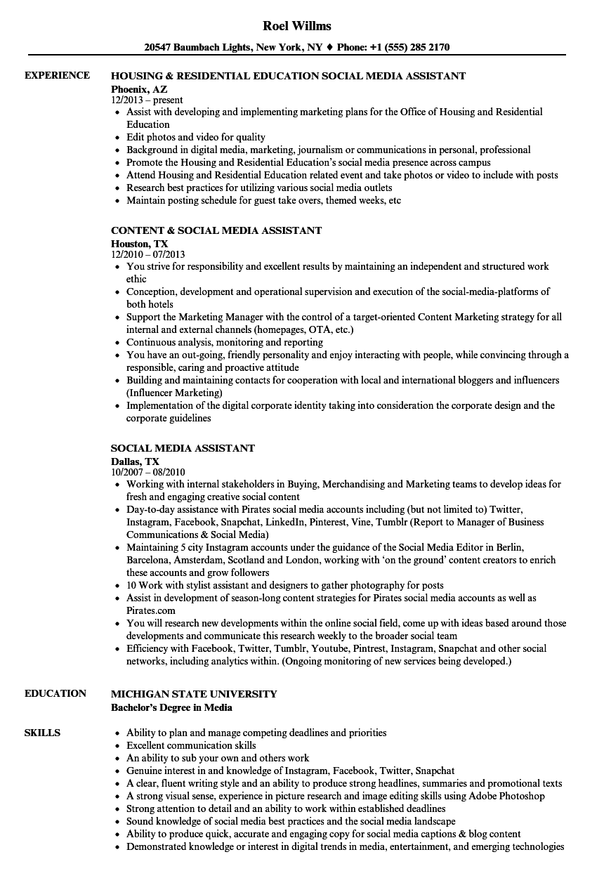 Social Media Assistant Resume Samples Velvet Jobs