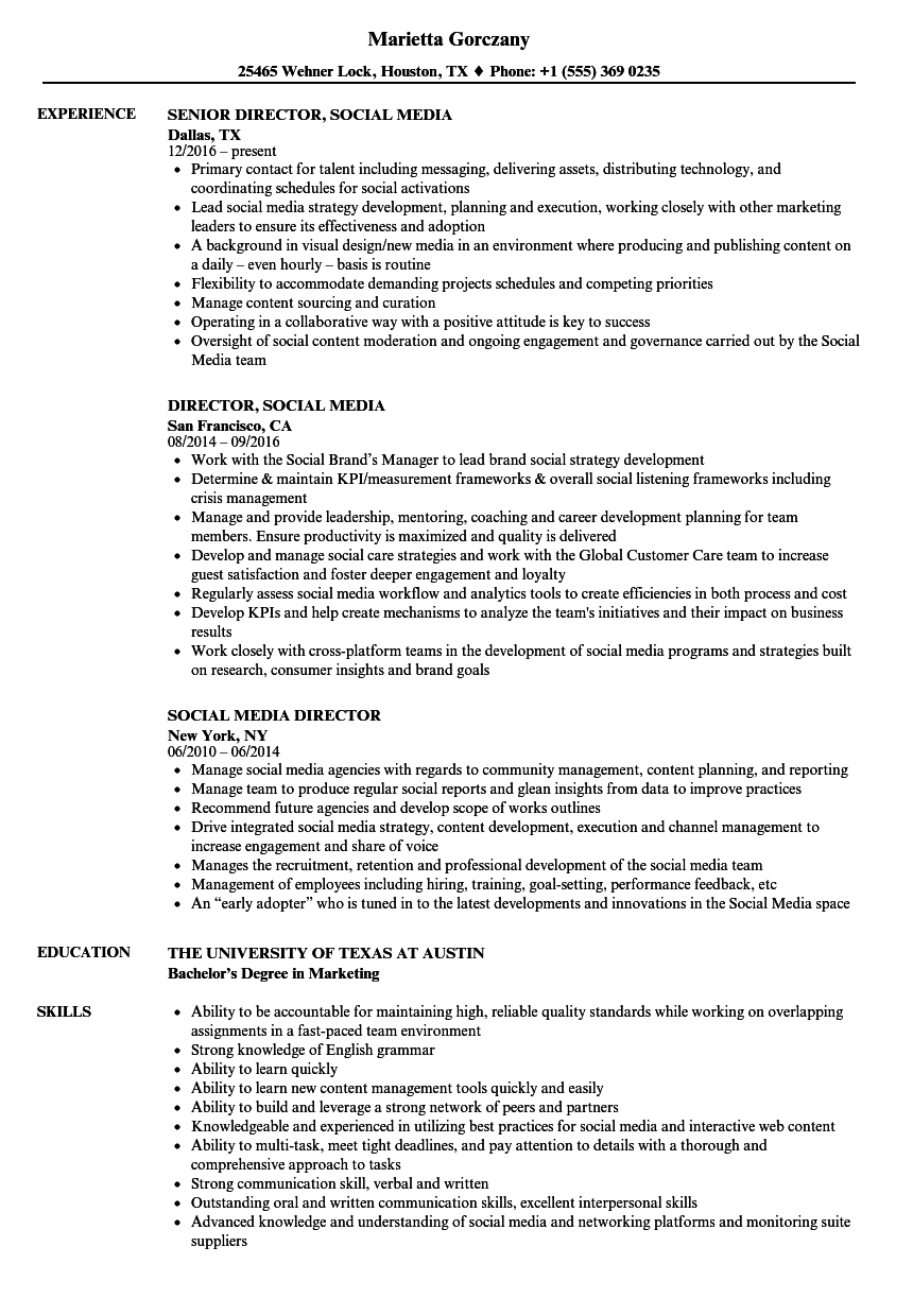 Social Media Director Resume Samples Velvet Jobs