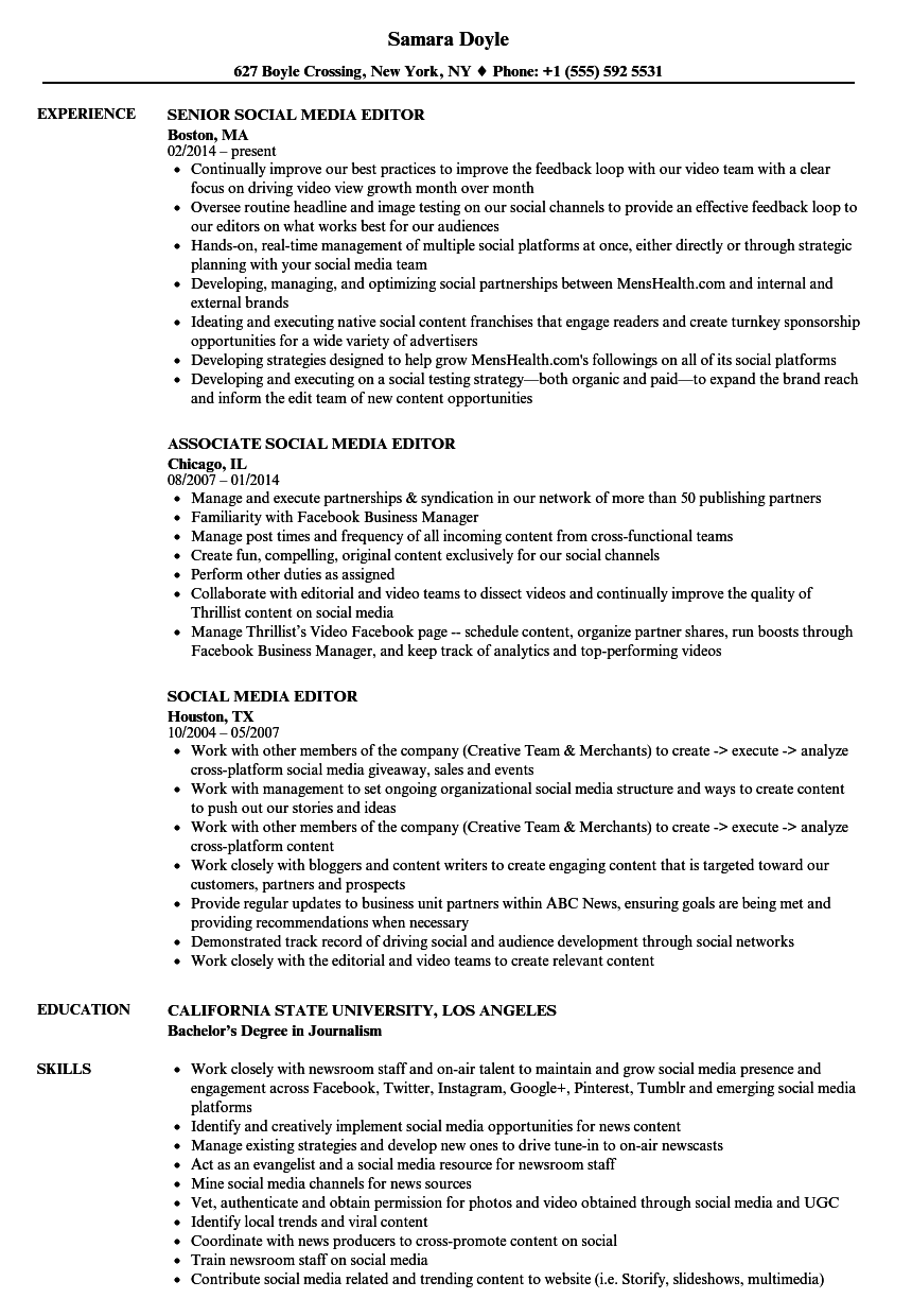 Social Media Editor Resume Samples | Velvet Jobs