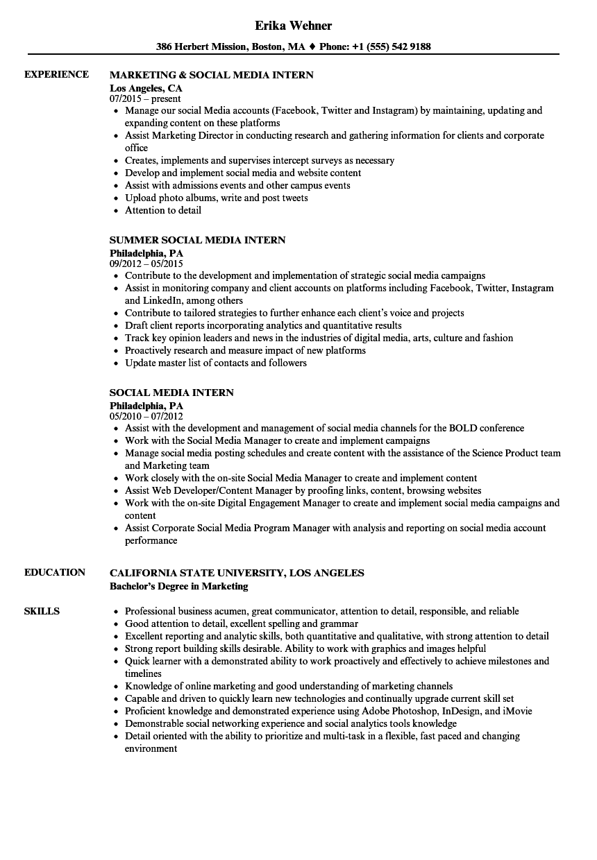 social media intern resume samples