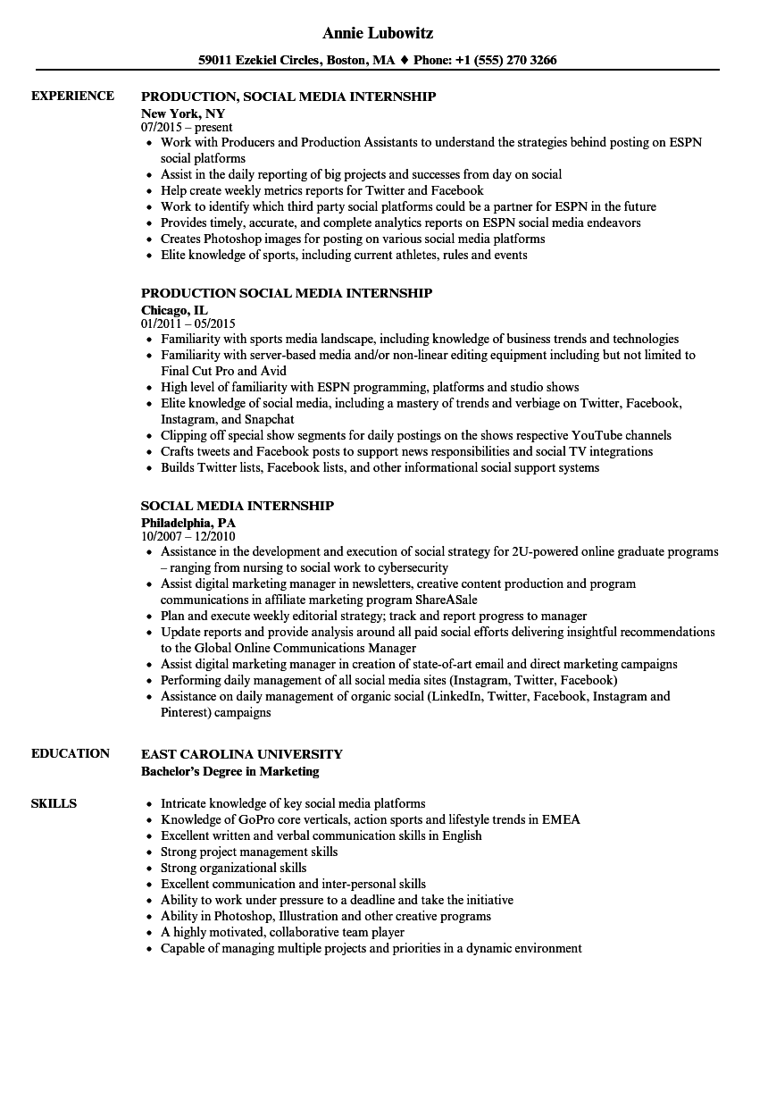 Social Media Internship Resume Samples Velvet Jobs