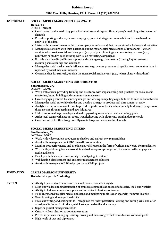 social media marketing resume samples