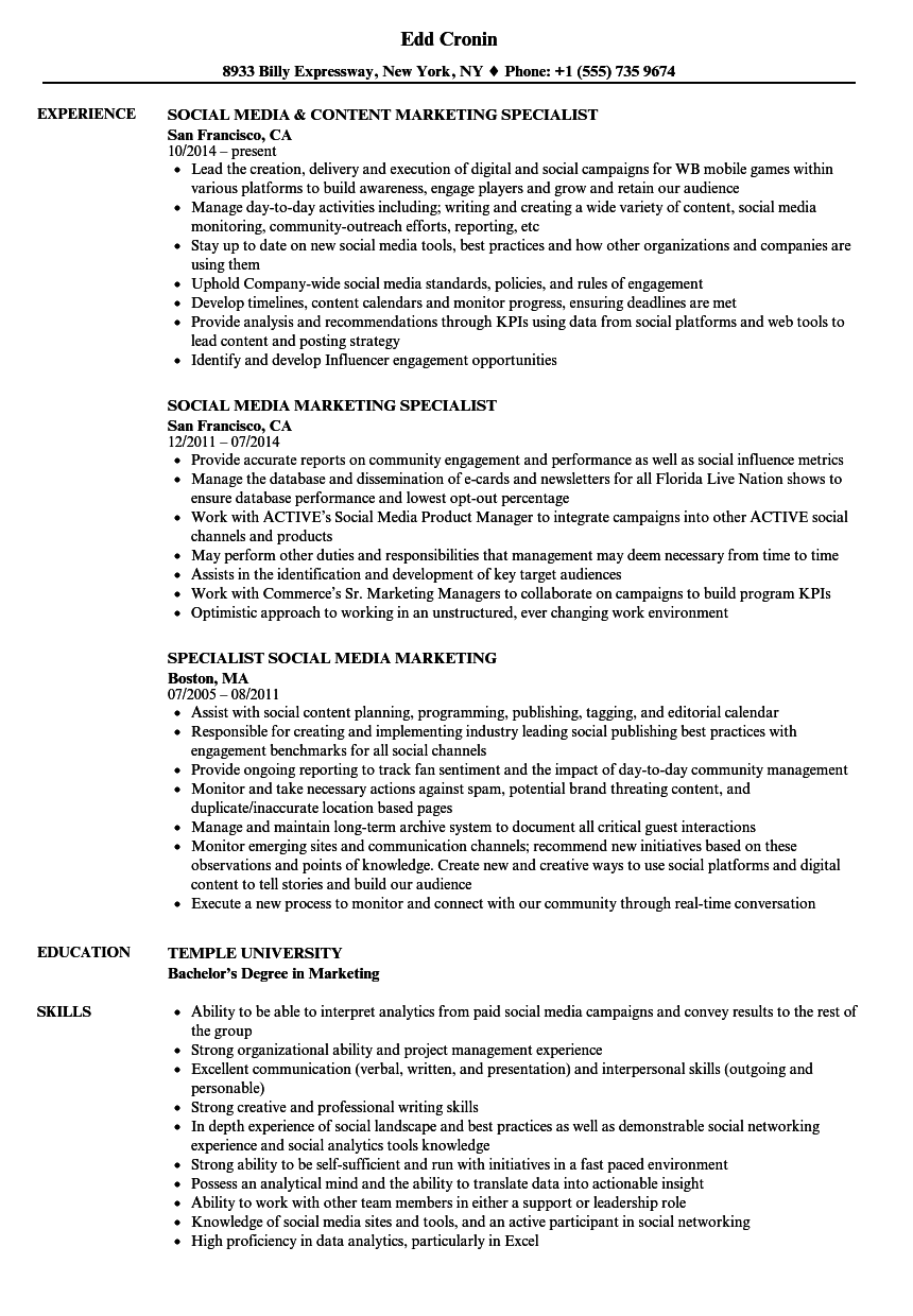 Social Media Marketing Specialist Resume Samples Velvet Jobs