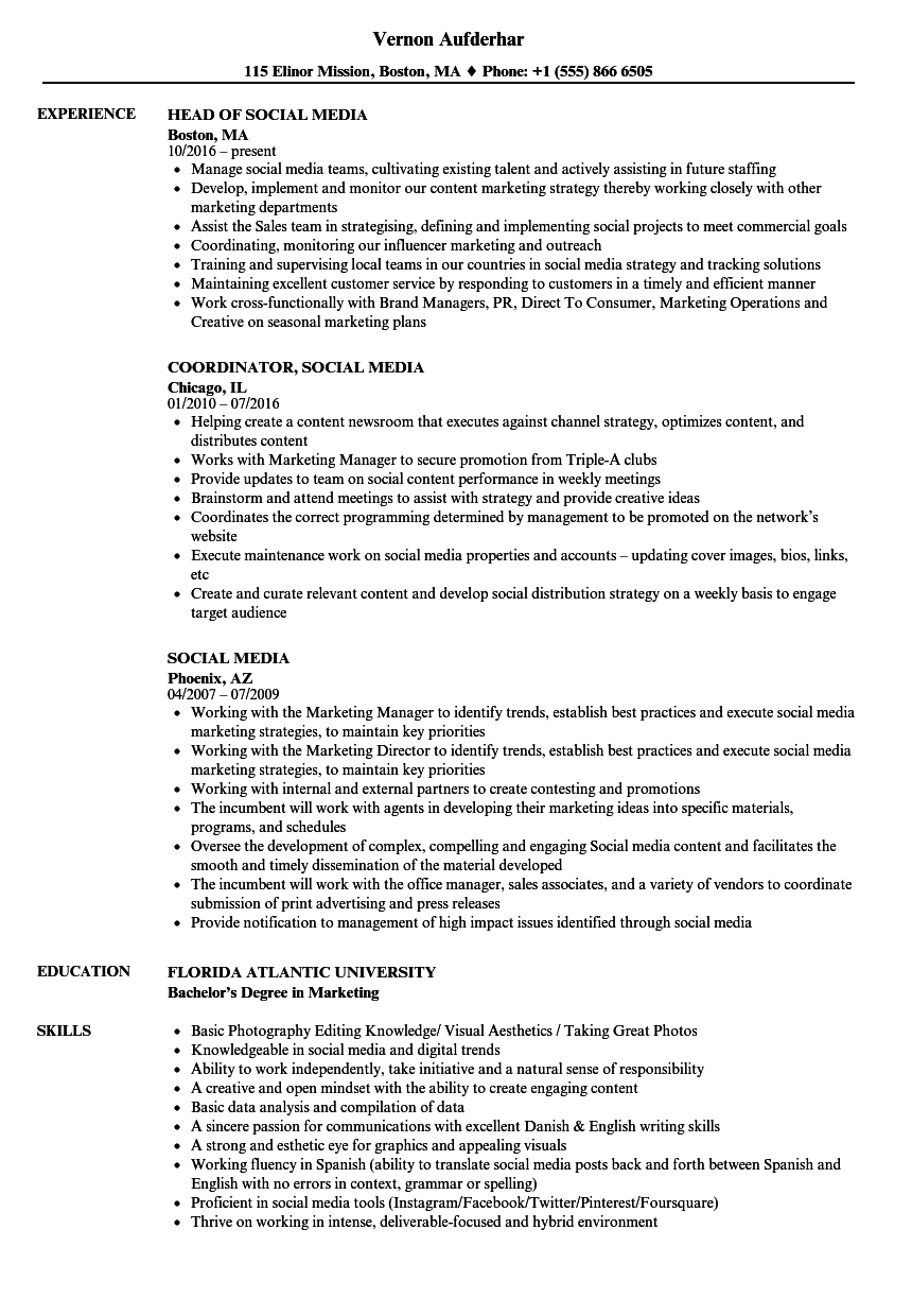 social media resume samples velvet jobs