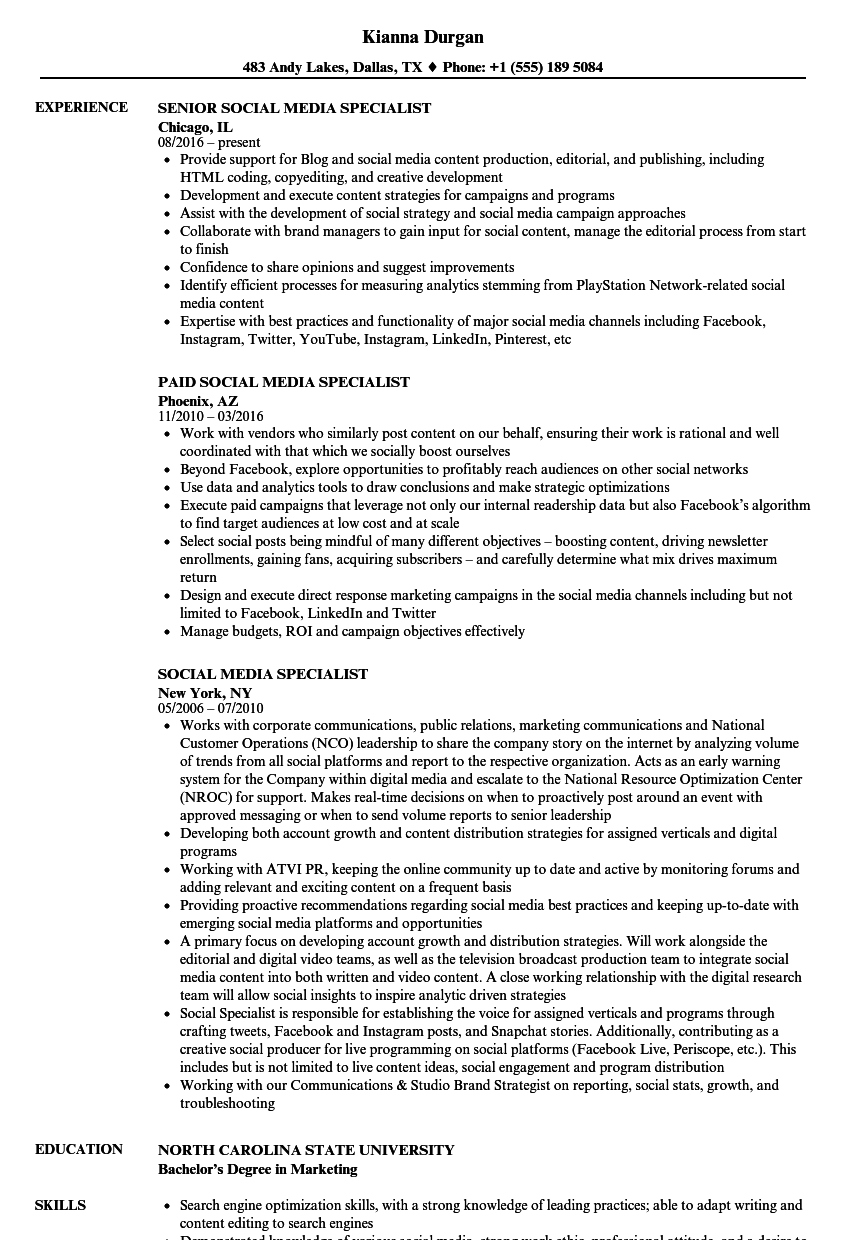 Social Media Specialist Resume Samples | Velvet Jobs