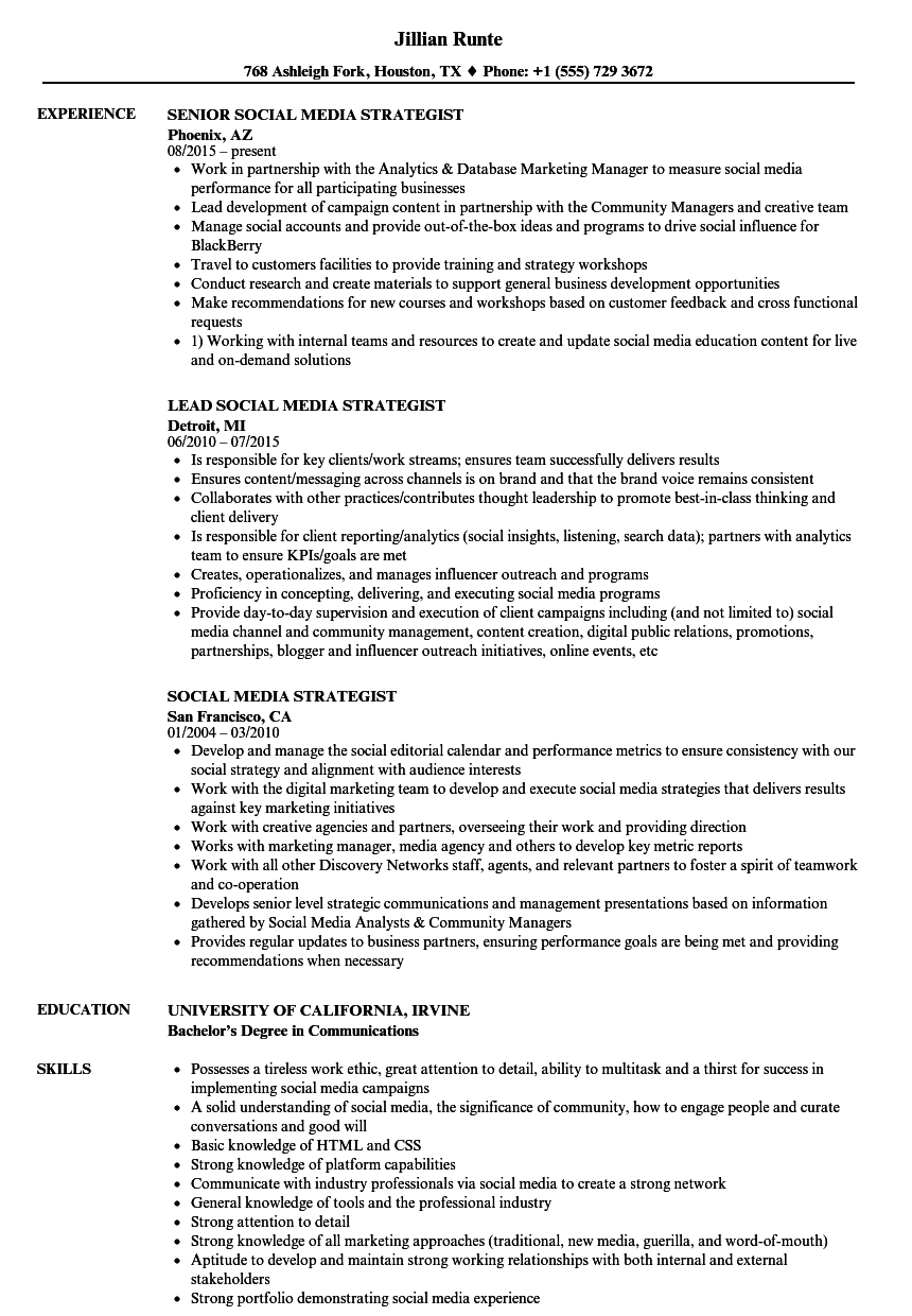 Social Media Strategist Resume Samples Velvet Jobs