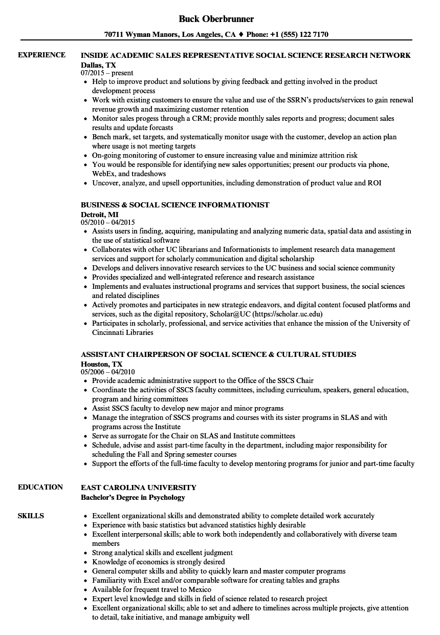 Social Science Resume Samples Velvet Jobs