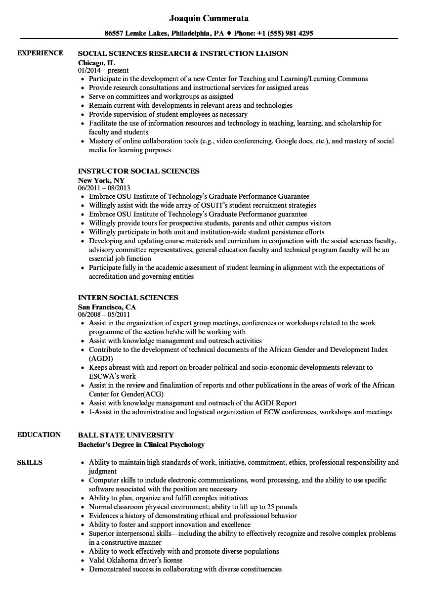 download social sciences resume sample as image file - Social Science Resume Objective
