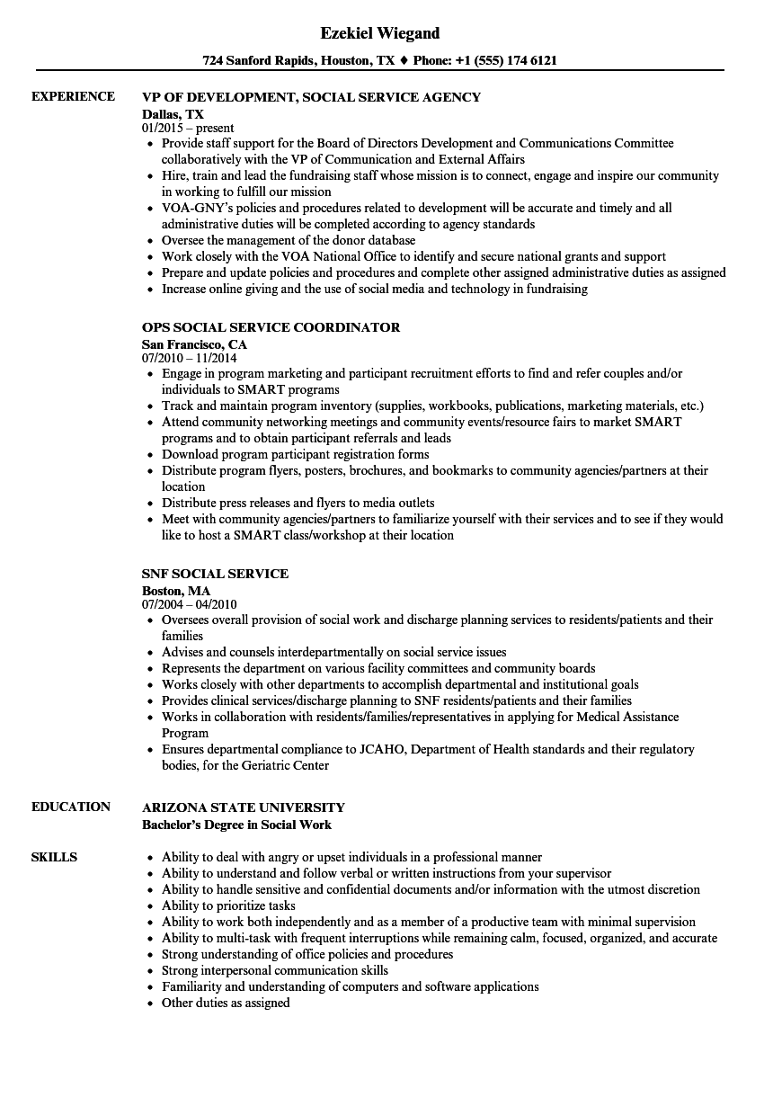 Social Service Resume Samples Velvet Jobs