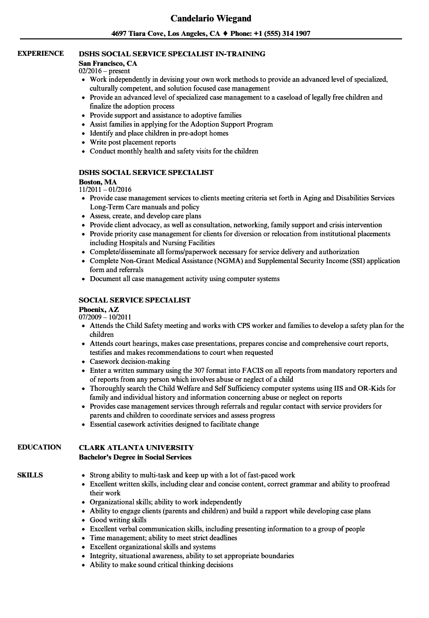 social service specialist resume samples
