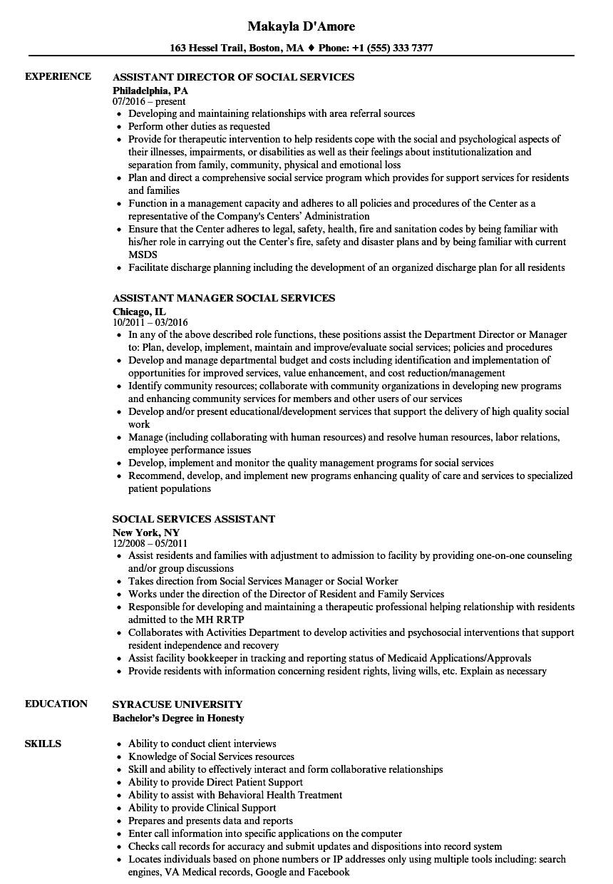 social services assistant resume samples