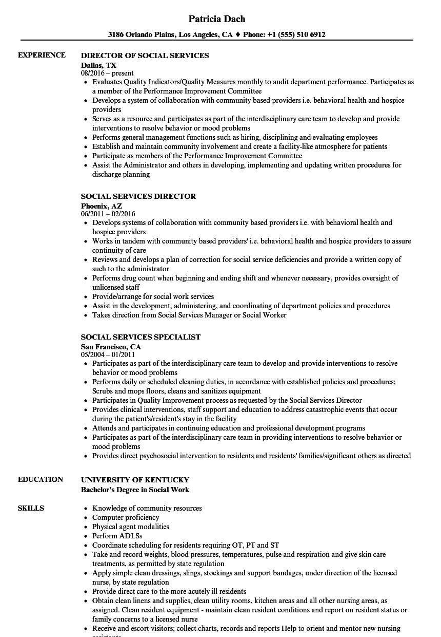 Download Social Services Resume Sample As Image File