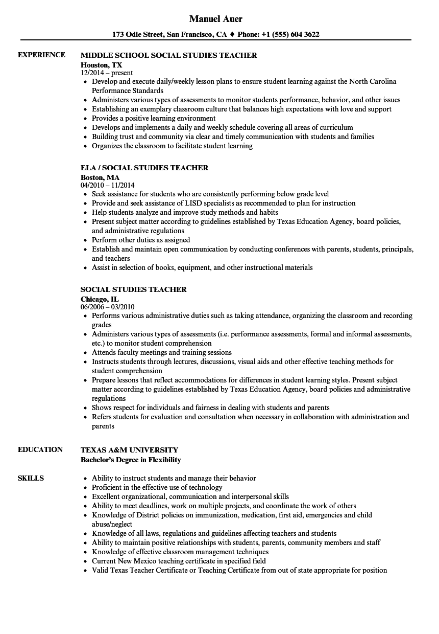 social studies teacher resume samples velvet jobs