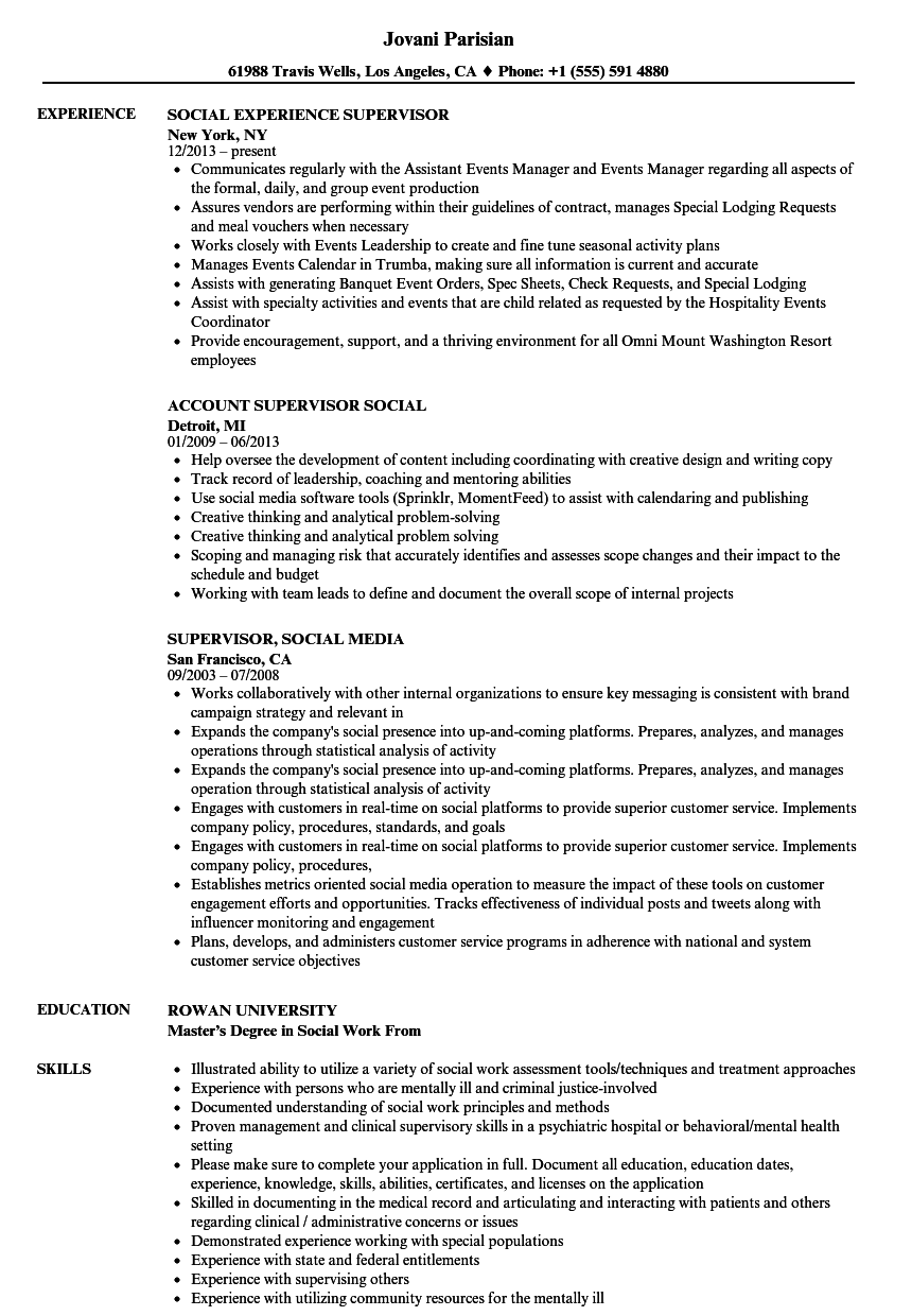 Social Supervisor Resume Samples Velvet Jobs