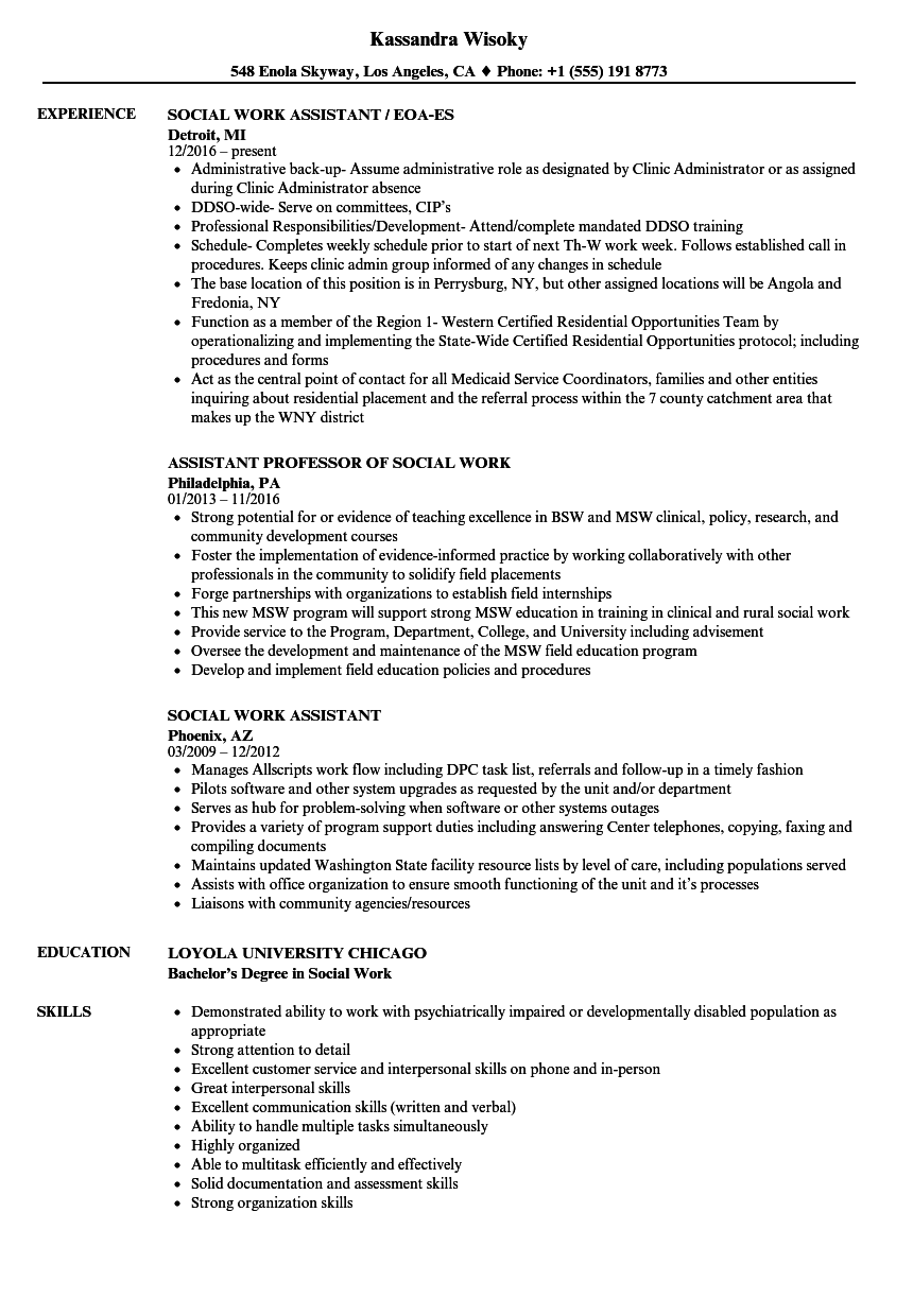 Social Work Assistant Resume Samples Velvet Jobs