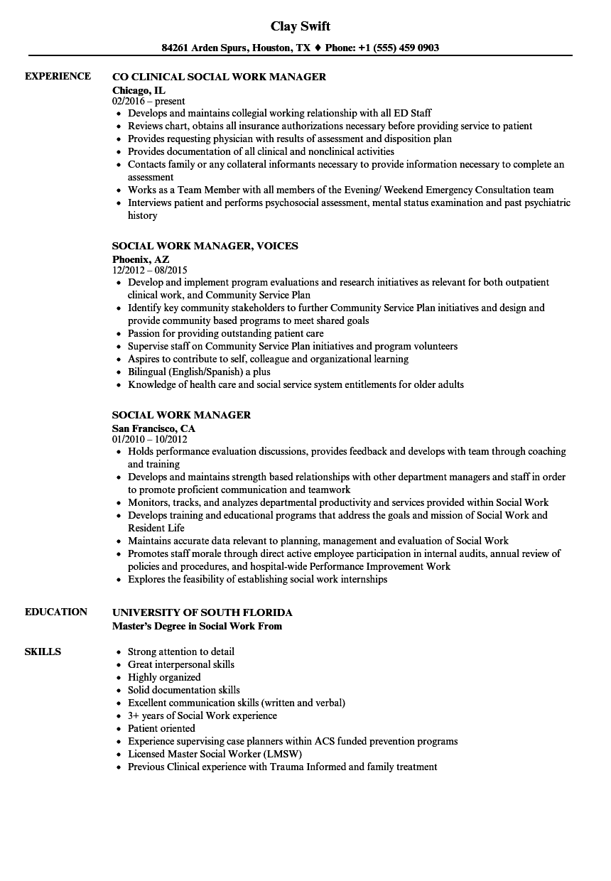 social work manager resume samples