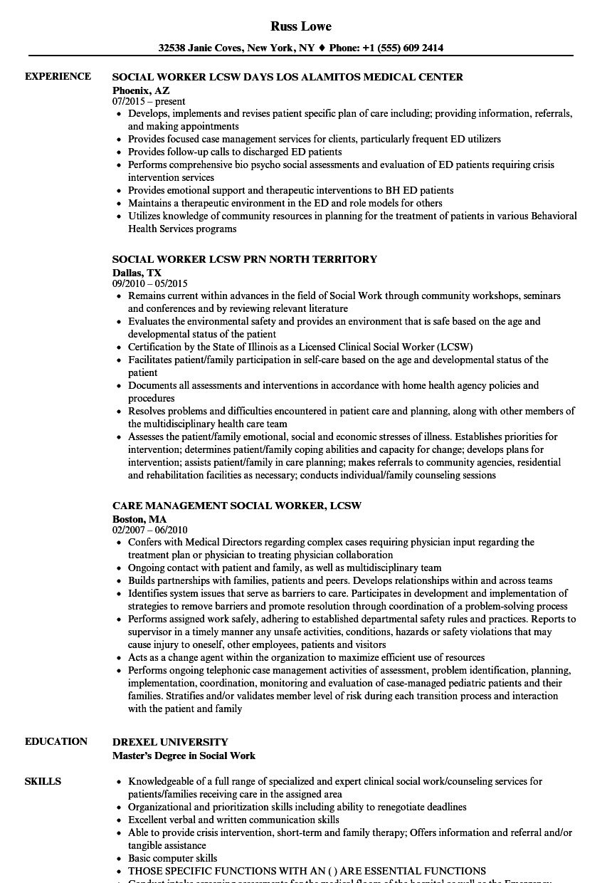Social Worker Lcsw Resume Samples | Velvet Jobs