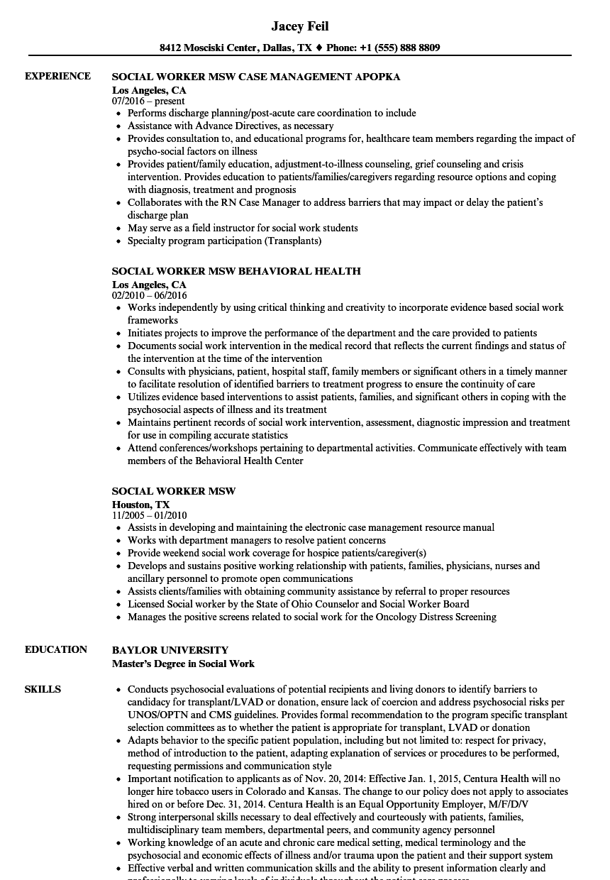 Social Worker MSW Resume Samples Velvet Jobs