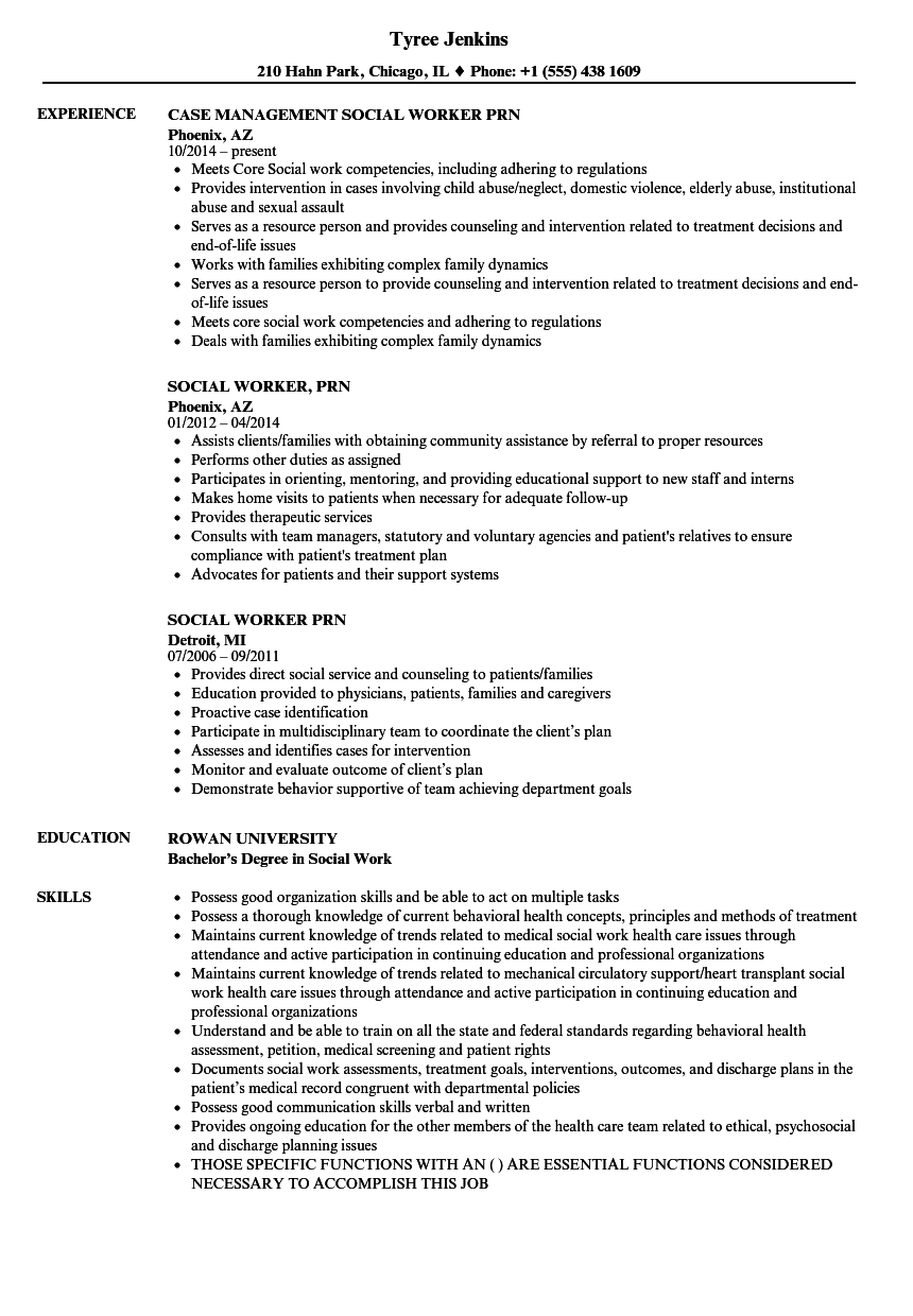 social worker prn resume samples
