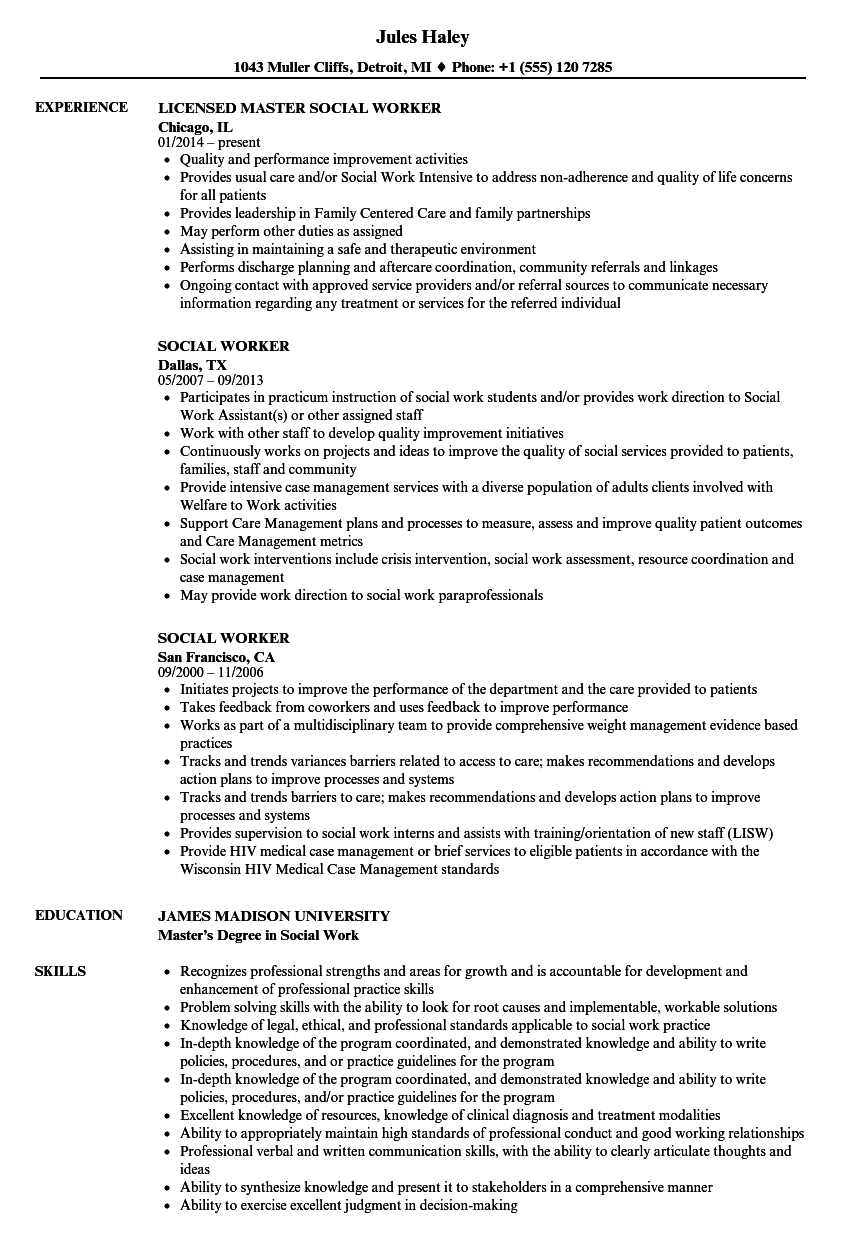 Download Social Worker Resume Sample As Image File