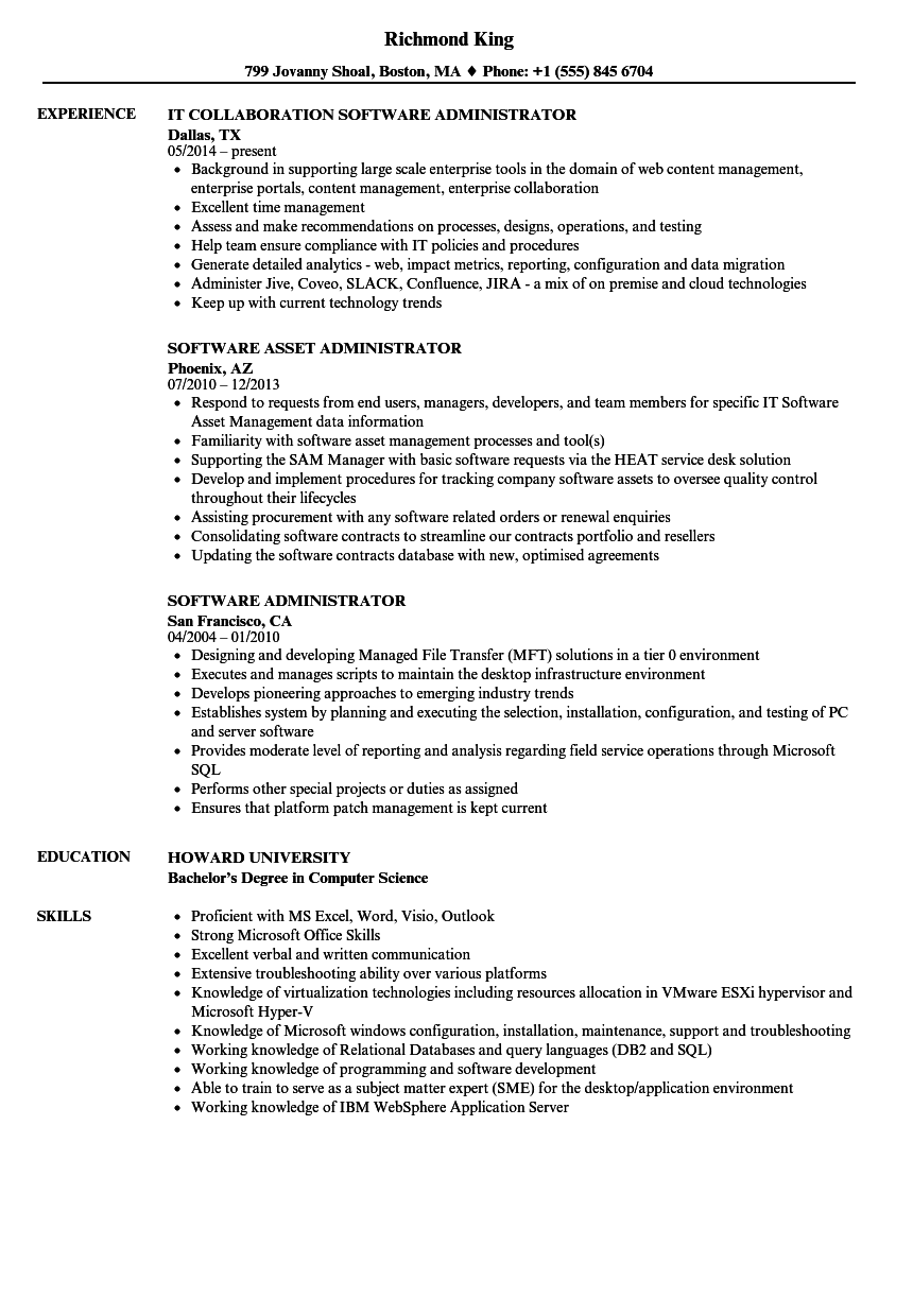 software administrator resume samples