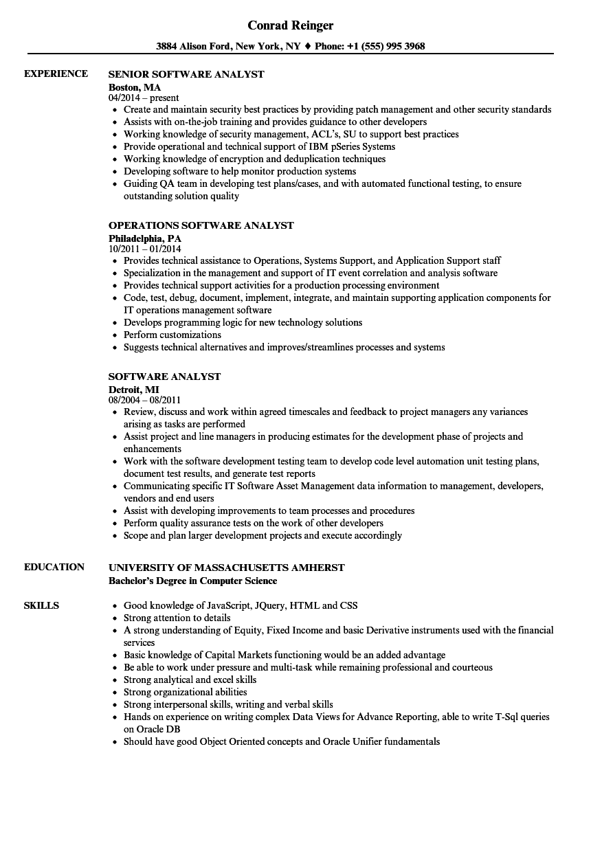 Download Software Analyst Resume Sample As Image File