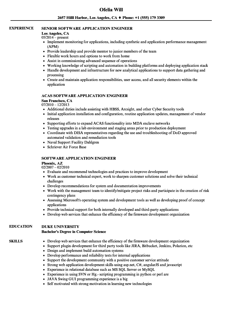 Software Application Engineer Resume