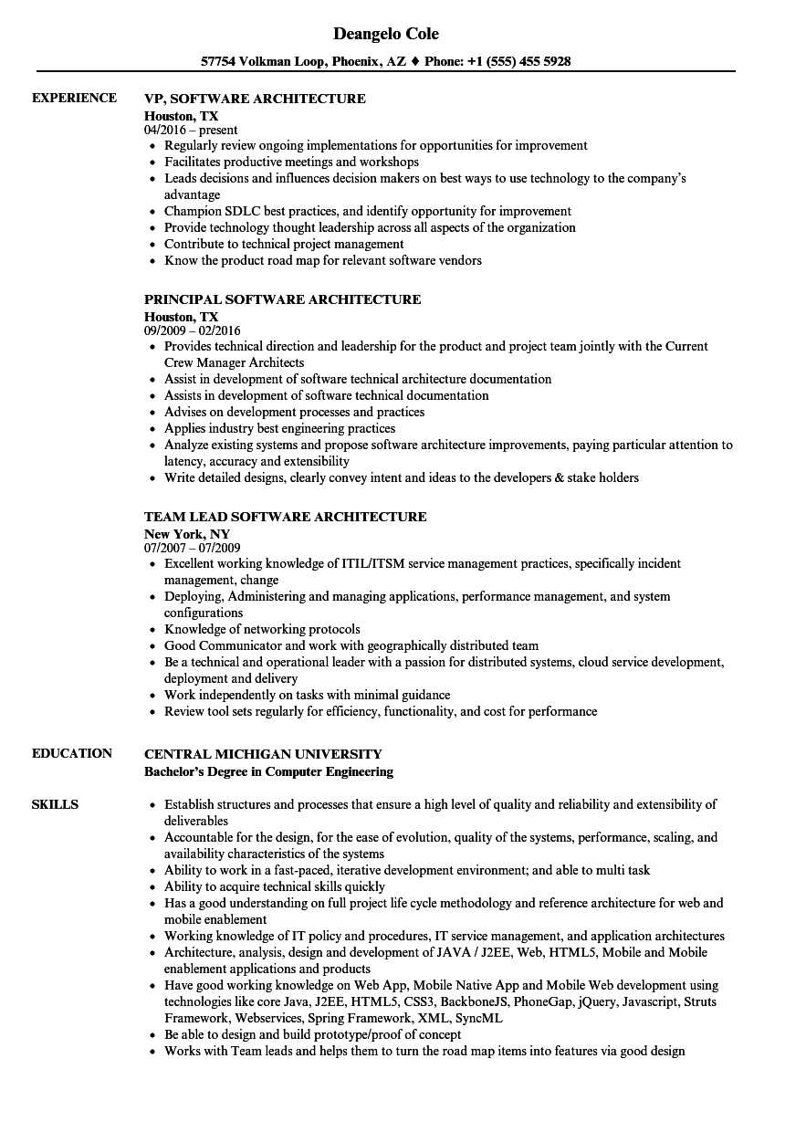 software architecture resume