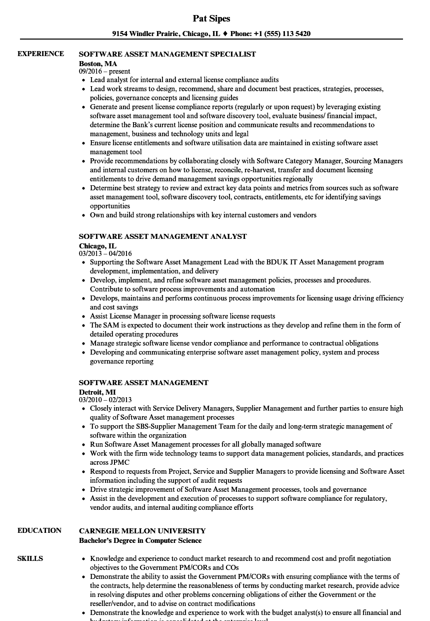 Software Asset Management Resume Samples | Velvet Jobs