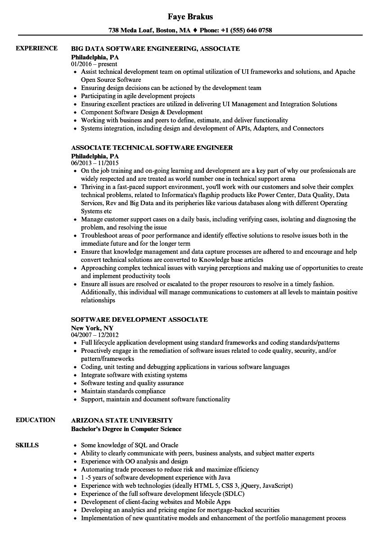 Software Associate Resume Samples Velvet Jobs