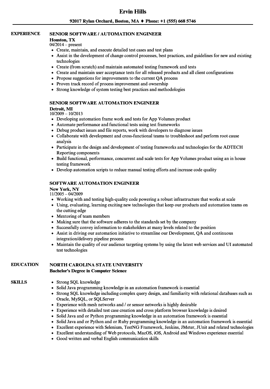 Software Automation Engineer Resume Samples | Velvet Jobs