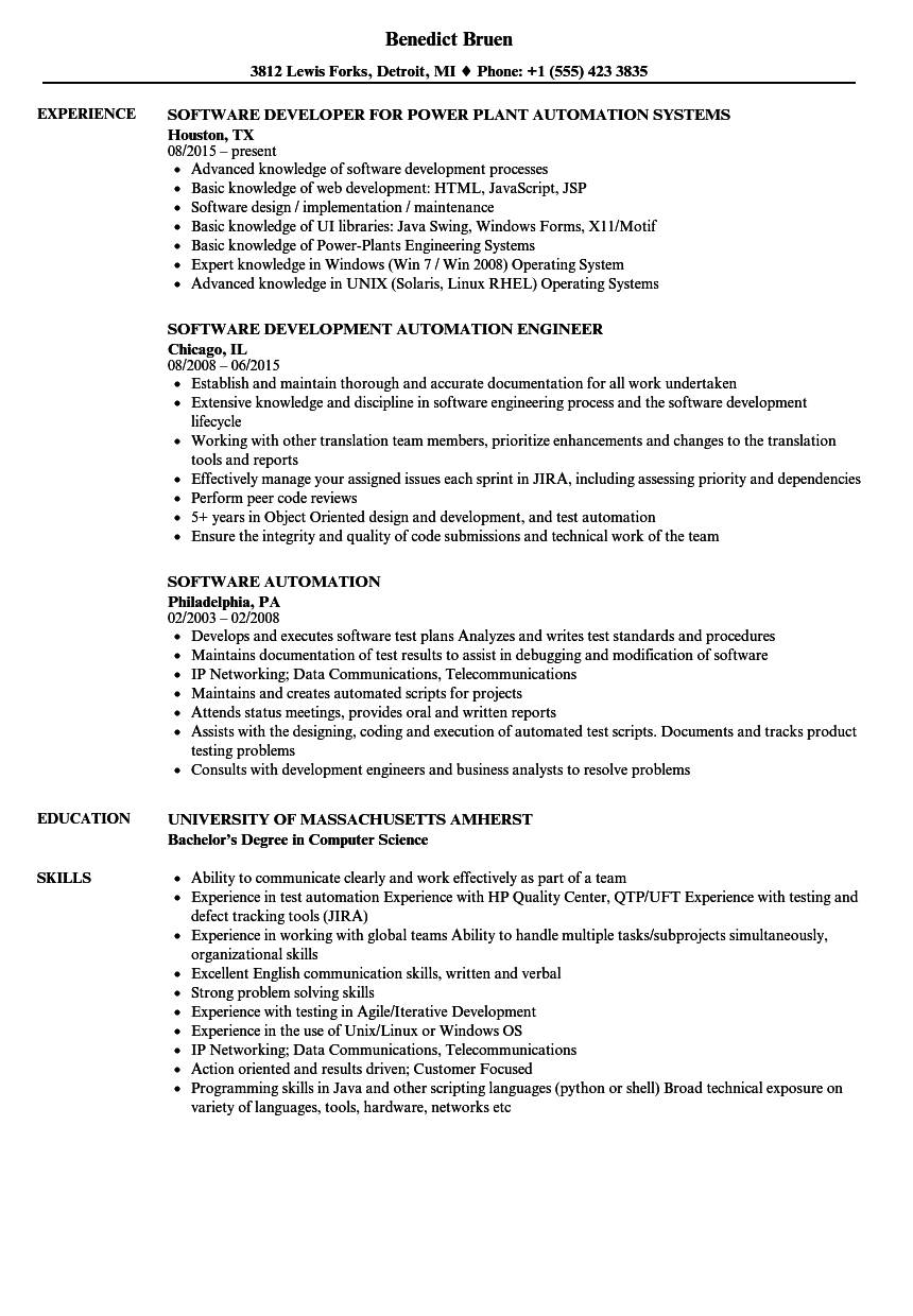 Software Automation Resume Samples | Velvet Jobs