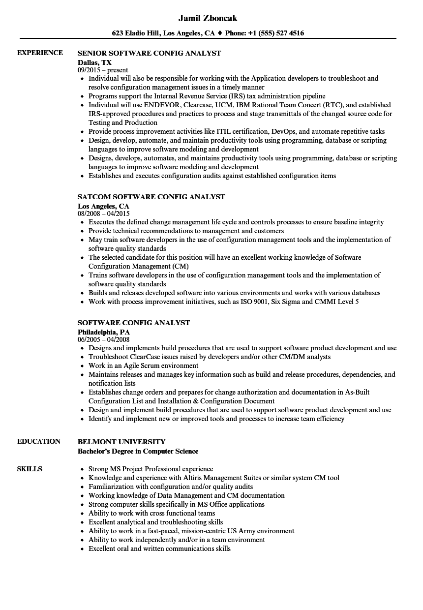 software config analyst resume samples