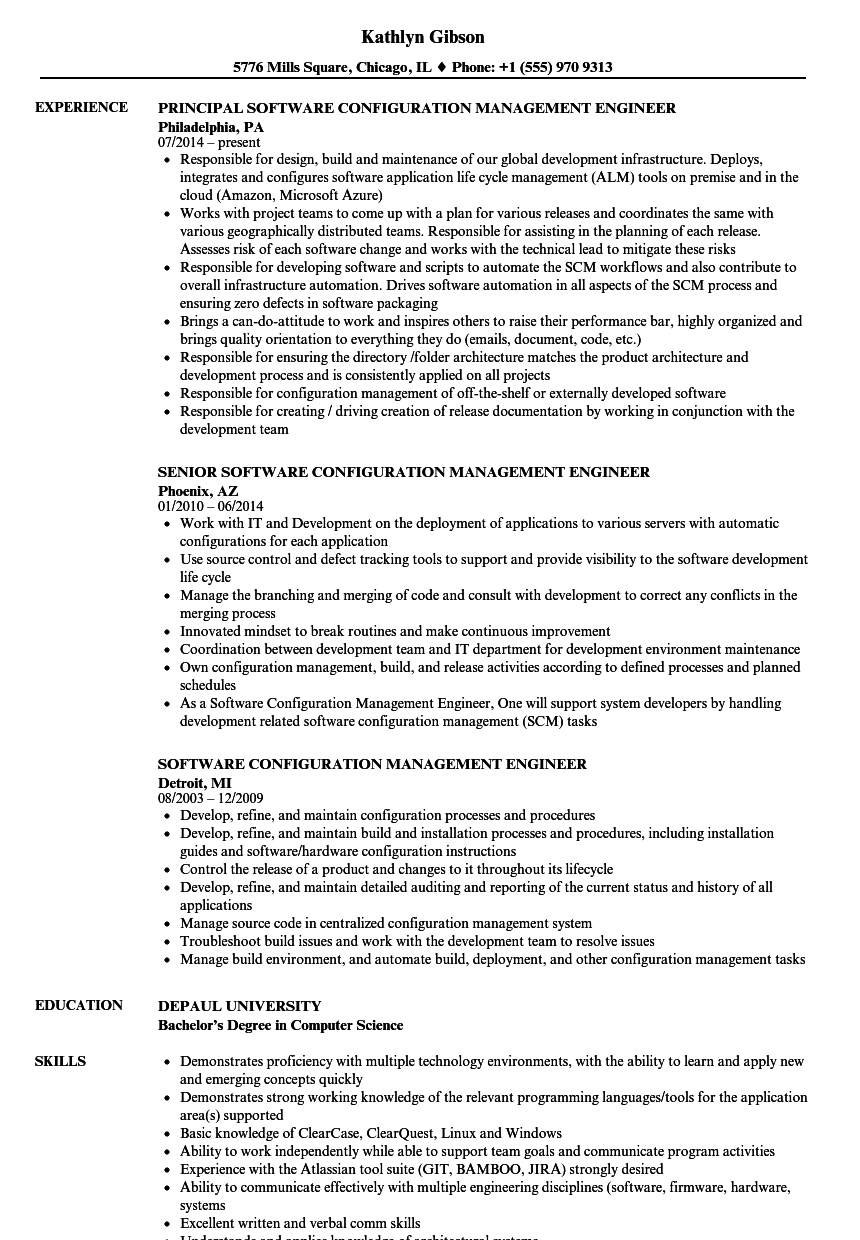 software configuration management engineer resume