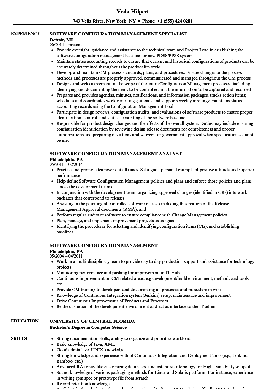 Software Configuration Management Resume Samples Velvet Jobs