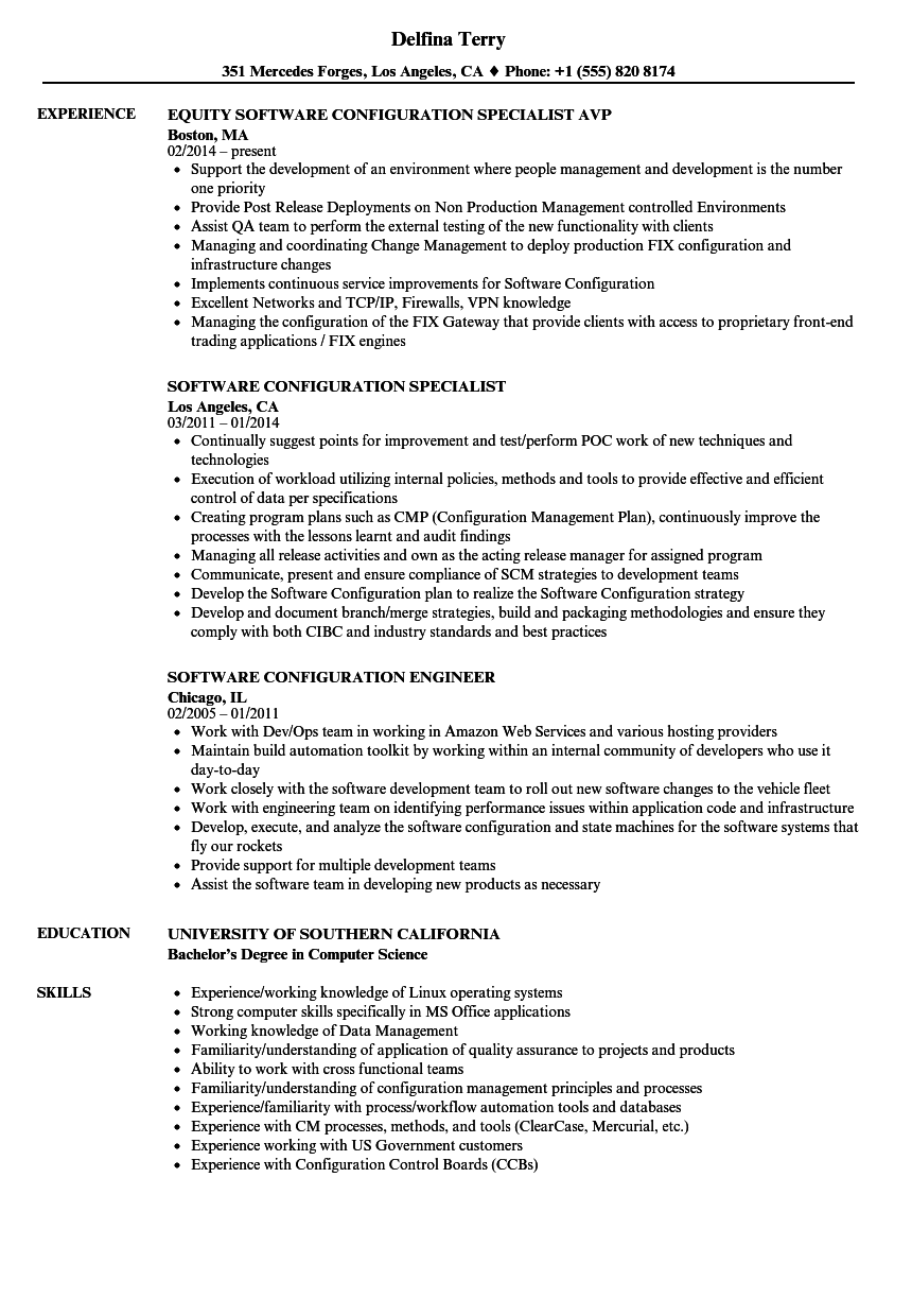 software configuration resume samples
