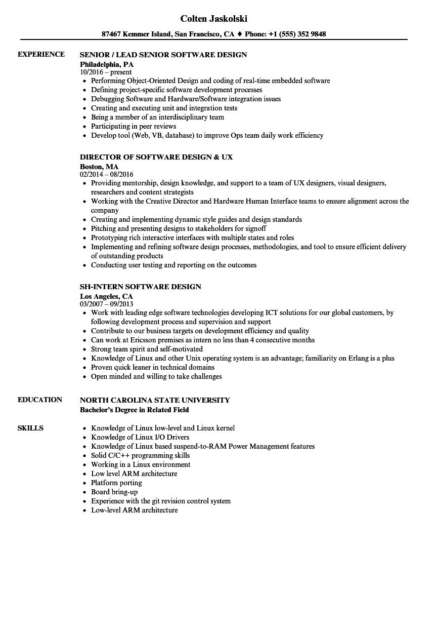Software Design Resume Samples Velvet Jobs