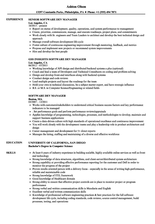 software dev manager resume samples  velvet jobs