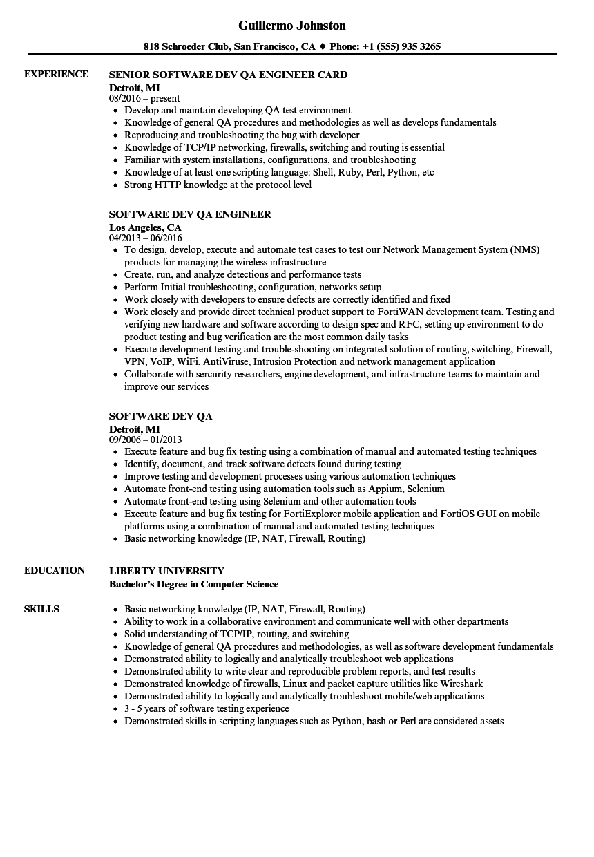 software dev qa resume samples