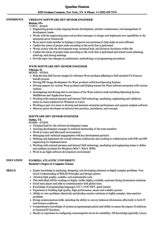 software dev senior engineer resume samples
