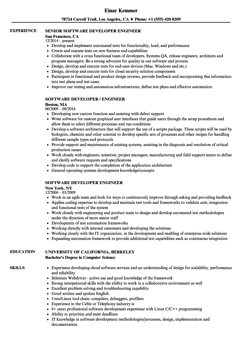 Software Developer Engineer Resume Samples Velvet Jobs