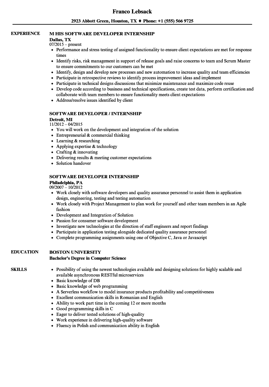 Resume For Internship Software