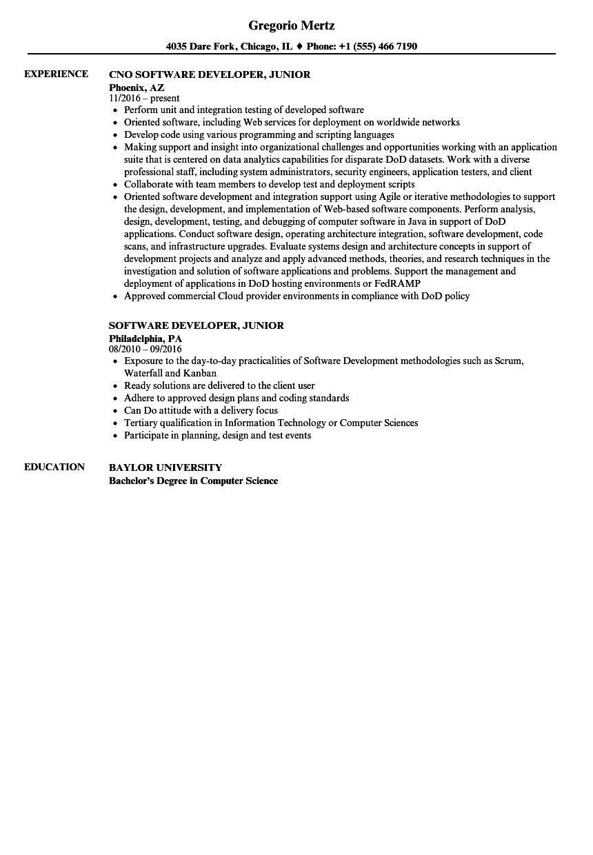 Software Developer Junior Resume Samples Velvet Jobs