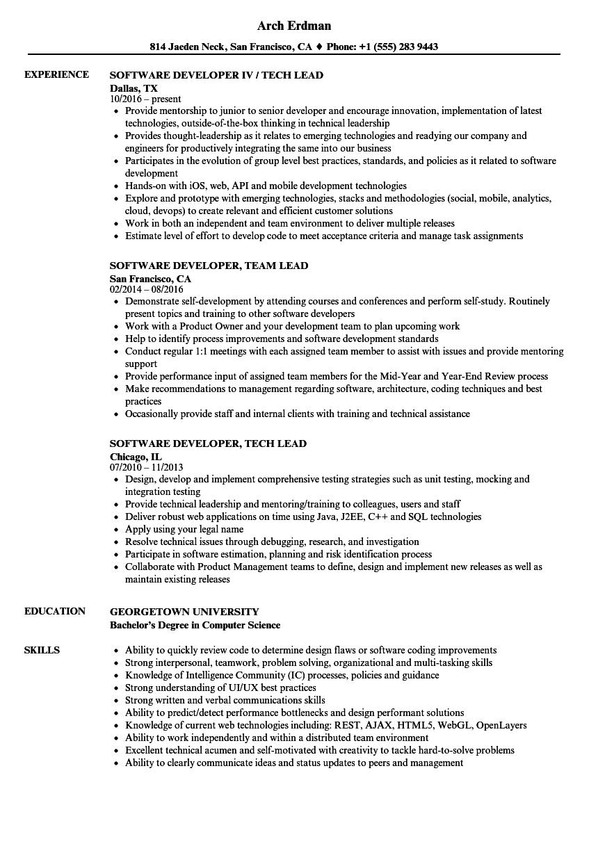 Software Developer, Lead Resume Samples | Velvet Jobs