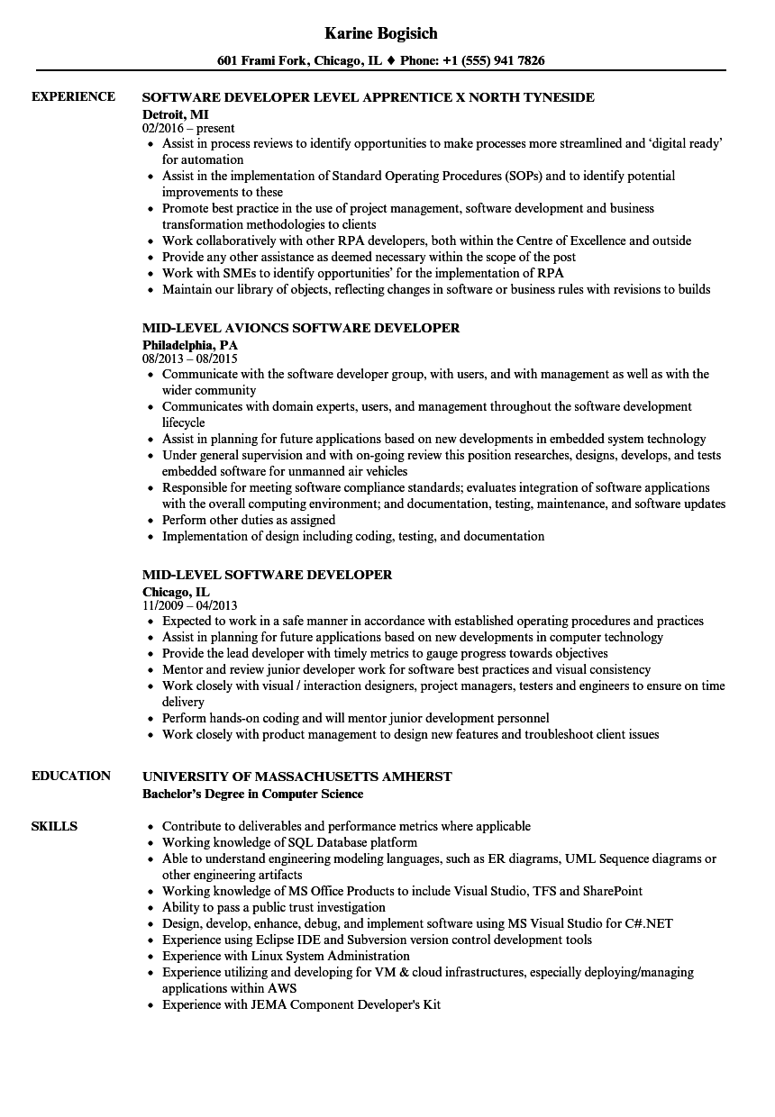 Software Developer Level Resume Samples | Velvet Jobs