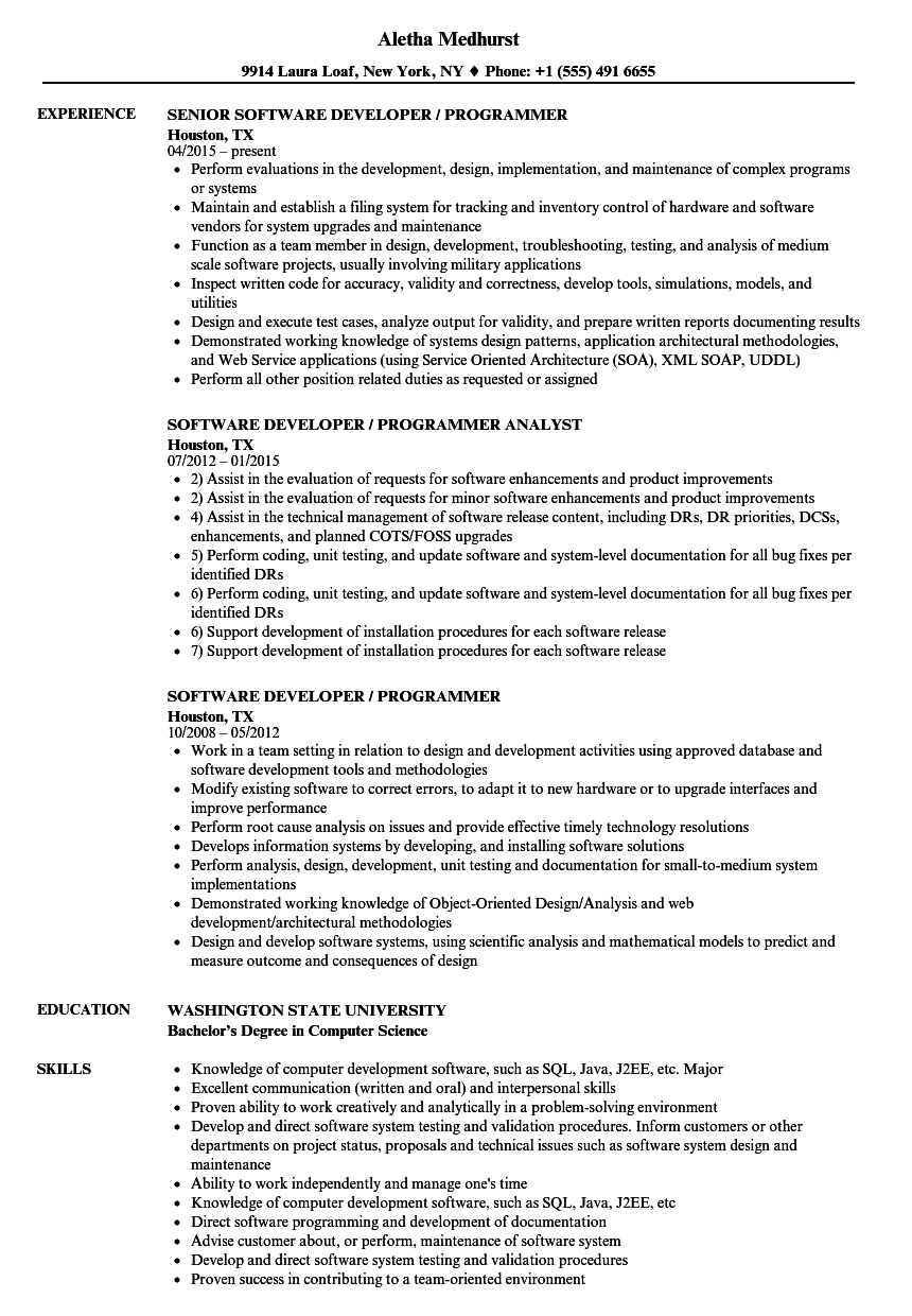 software developer    programmer resume samples